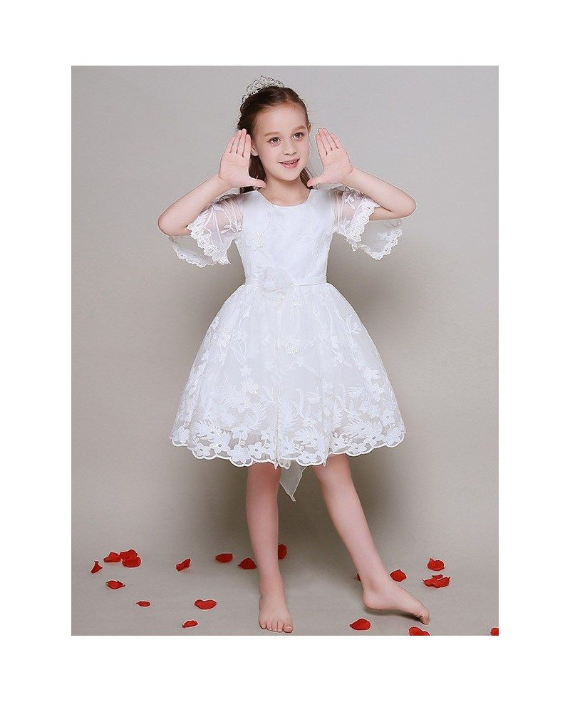 Short Sleeved Ball Gown Lace Pageant Dress For Little -5647