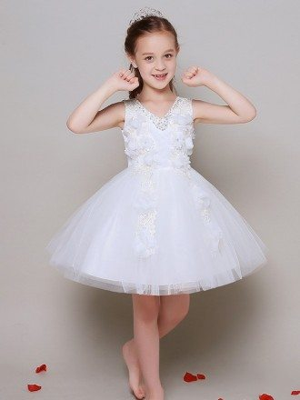 Ball Gown Short Lace Floral Pageant Dress with Beaded Sweetheart Neck