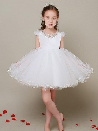Cap Sleeves Ball Gown White Tulle Flower Girl Dress with Beaded Sweetheart Neck