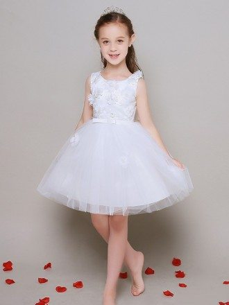 Tulle Ballroom Floral Lace Pageant Dress in Short