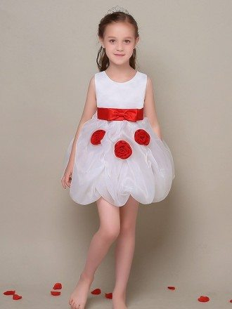 Simple Short White Flower Girl Dress with Red Sash