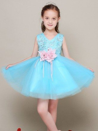 Short Lace Blue Tulle Flower Girl Dress