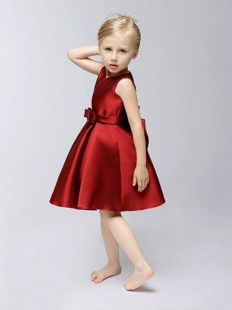 Simple Hot Red Short Satin Flower Girl Dress with Bows