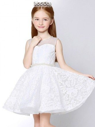 Sheer Top Whole Lace Short Flower Girl Dress with Beaded Waist and Neck