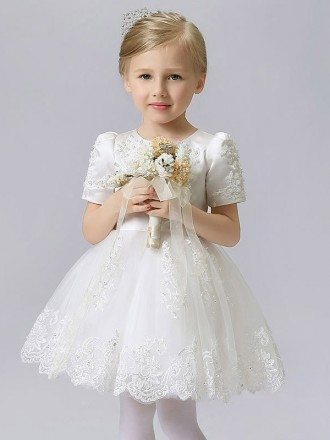 Satin and Tulle Lace Flower Girl Dress with Short Sleeves