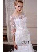 Mermaid Scoop Neck Sweep Train Lace Wedding Dress With Beading Flowers