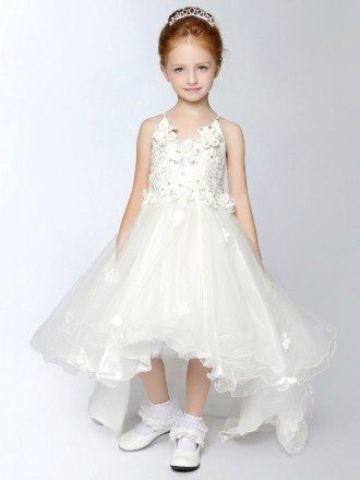 Asymmetrical Tulle Fairy Lace Flower Girl Dress Short in Front Long in Back