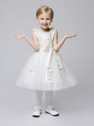 Short Ballroom Applique Tulle White Flower Girl Dress with Sash