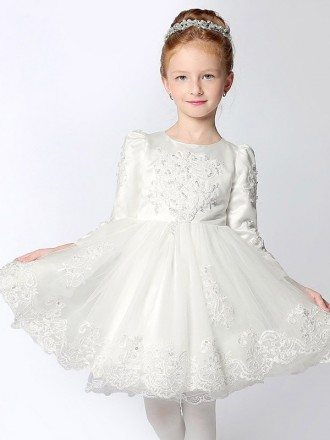 Vintage Satin Sleeved Tulle Lace Ballroom Flower Girl Dress