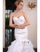 Mermaid Sweetheart Court Train Lace Organza Wedding Dress With Beading