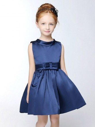 Navy Blue Simple Satin Short Collared Flower Girl Dress with Sash