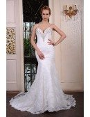 Mermaid V-neck Court Train Lace Wedding Dress With Beading