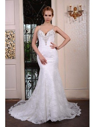 Mermaid V-neck Court Train Lace Wedding Dress With Beading