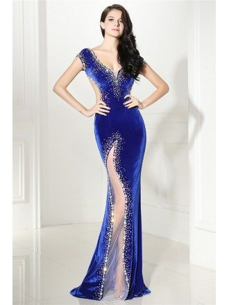 Sexy Mermaid Beaded Royal Blue Slit Backless Prom Dress