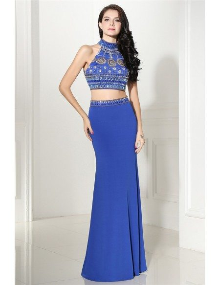 Popular Two Piece Long Blue Prom Dress with Beading