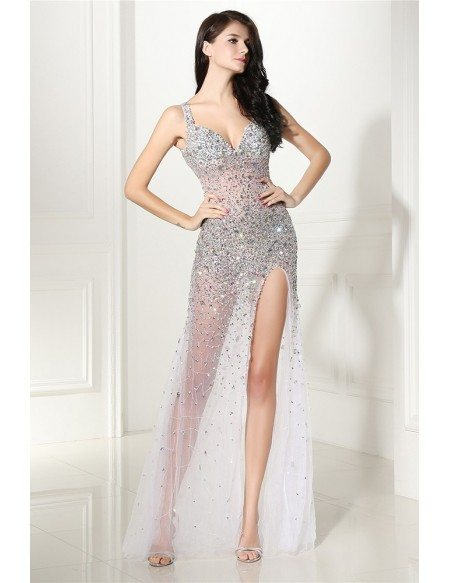 Sparkly Beading Tulle Sexy Slit Prom Dress