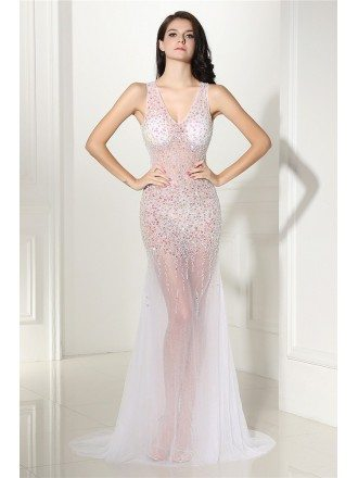 Charming See-through Long Tulle V-neck Prom Dress with Beading