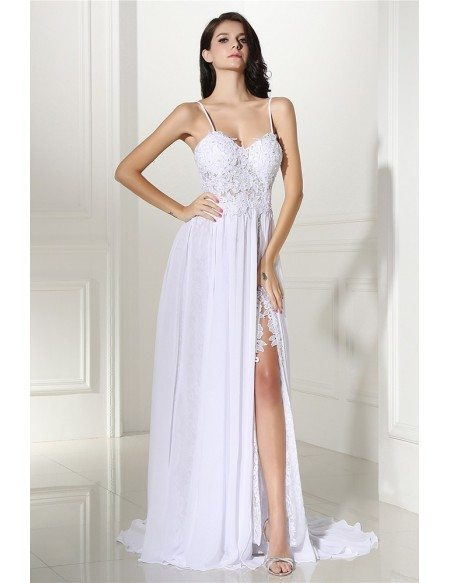 Boho Lace Spaghetti Straps White Formal Dress with Slit