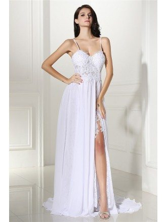 Boho Lace Spaghetti Straps White Formal Dress with Slit