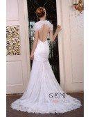 Mermaid V-neck Sweep Train Satin Lace Wedding Dress With Beading