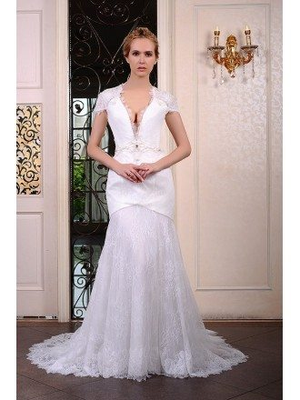 Mermaid V-neck Sweep Train Satin Lace Wedding Dress With Beading