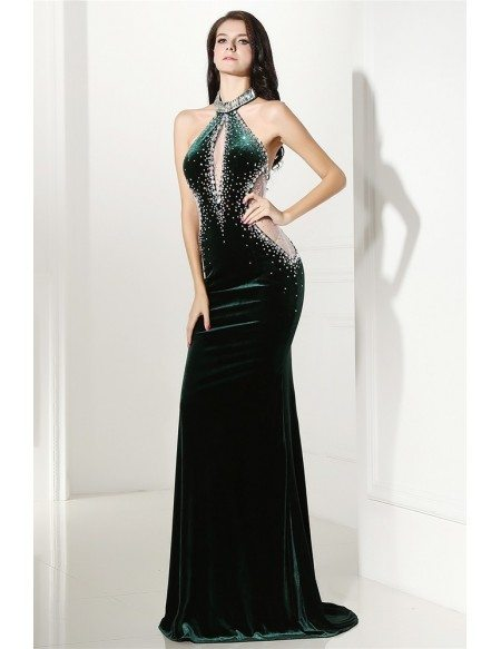 Beaded Long Halter Red Sleek Prom Formal Gown Sweep Train