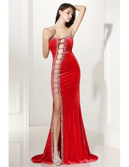Sexy Cut,out Fitted Mermaid Red Prom Dress with Slit LG0306 , GemGrace.com