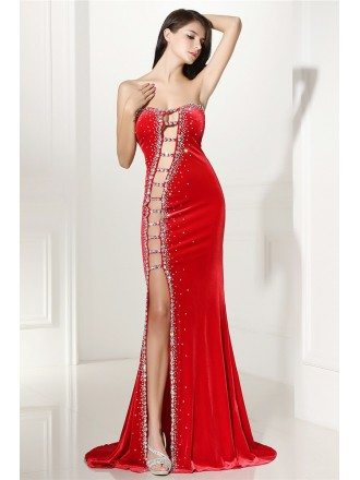 Sexy Cut-out Fitted Mermaid Red Prom Dress with Slit