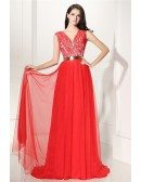 V-neck Lace and Tulle Long Formal Prom Dress with Belt