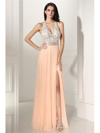 Sleeveless Lace V-neck Slit Coral Chiffon Prom Dress