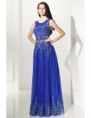 Royal Blue Embroidery on Tulle Long Prom Dress