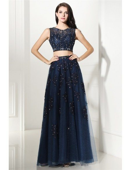 Two Piece Navy Blue Lace Long Tulle Prom Dress