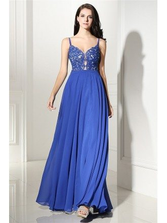 Classy Lace Empire Line Blue Chiffon Prom Dress