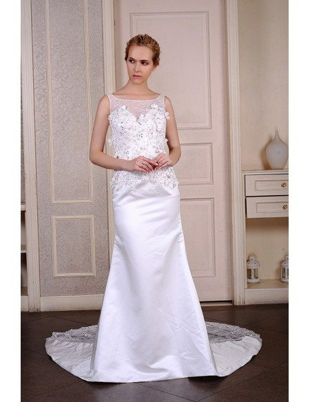 Mermaid Scoop Neck Sweep Train Satin Wedding Dress With Beading Appliquer Lace Flowers