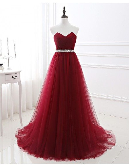 Formal Long Tulle Prom Dress with Beaded Waist