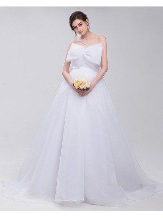 Big Bow Front Empire Waist Long Tulle Wedding Dress