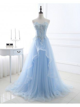 Blue Beaded Lace and Tulle Long Formal Dress