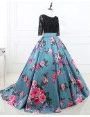 Two Piece Black Lace and Floral Prom Dress Half Sleeves