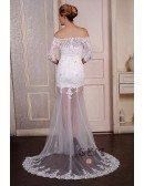 Sheath Sweetheart Sweep Train Tulle Wedding Dress With Beading Appliquer Lace