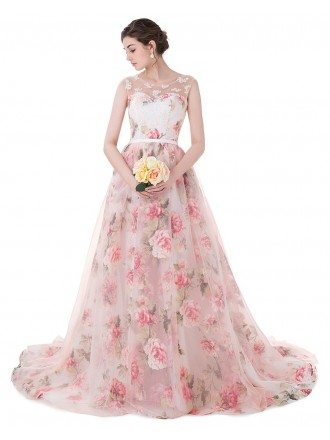 Floral Long Train Length Sleeveless Formal Party Dress