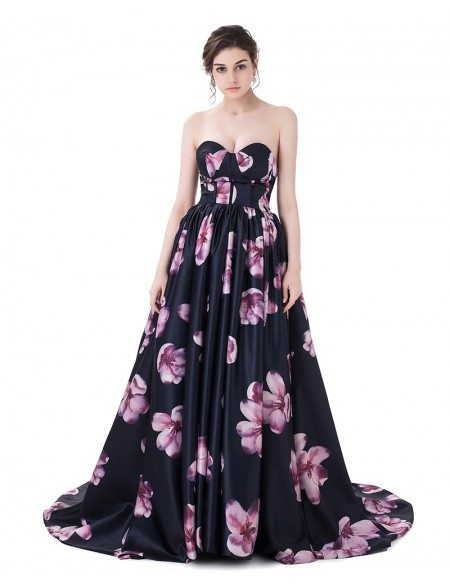 Floral Sweetheart Sexy Long Prom Dress with Flowers