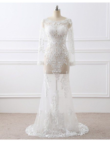 Sexy See-through Embroidery Long Sleeve White Formal Dress