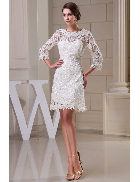Lace Short Wedding Dresses With Sleeves For Reception A Line High Neck Style Op5041 158 4 Gemgrace