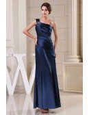 Sheath One-shoulder Ankle-length Satin Evening Dress