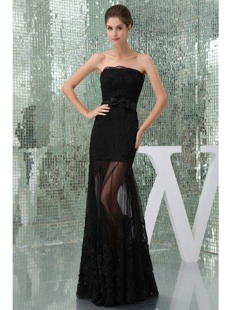 Mermaid Strapless Floor-length Lace Evening Dress