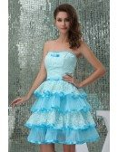 A-line Strapless Short Tulle Homecoming Dress With Ruffle