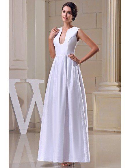 A-line V-neck Ankle-length Satin Evening Dress