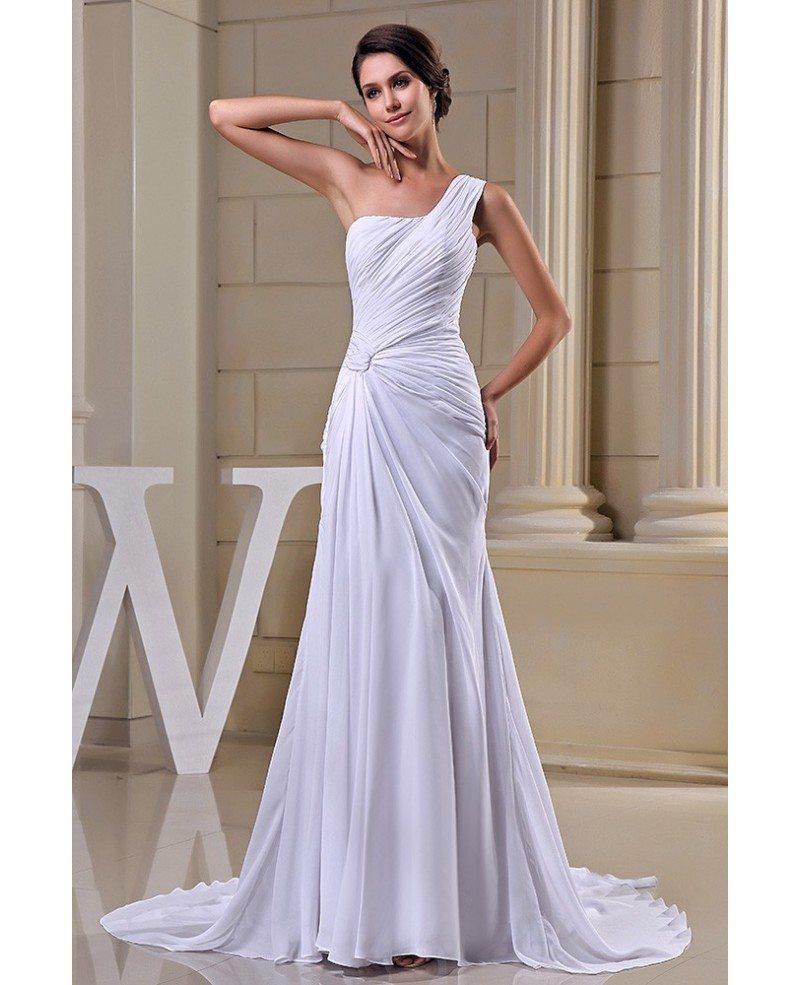 Sheath One Shoulder Sweep Train Chiffon Wedding Dress Op5027