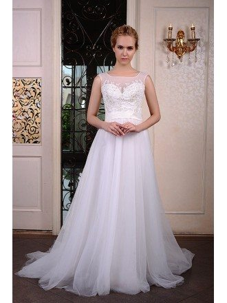 A-Line Scoop Neck Court Train Organza Wedding Dress With Beading Appliquer Lace