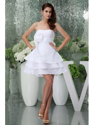 A-line Strapless Short Tulle Homecoming Dress